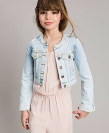Denim jacket with rhinestones Bleach Denim Child 191GJ2471-0S