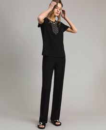 Embroidery and fringe T-shirt Black Woman 191TT2204-05