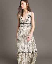 Robe longue en soie mélangée avec imprimé floral Imprimé Toile De Jouy Noir Femme 191TT2402-03