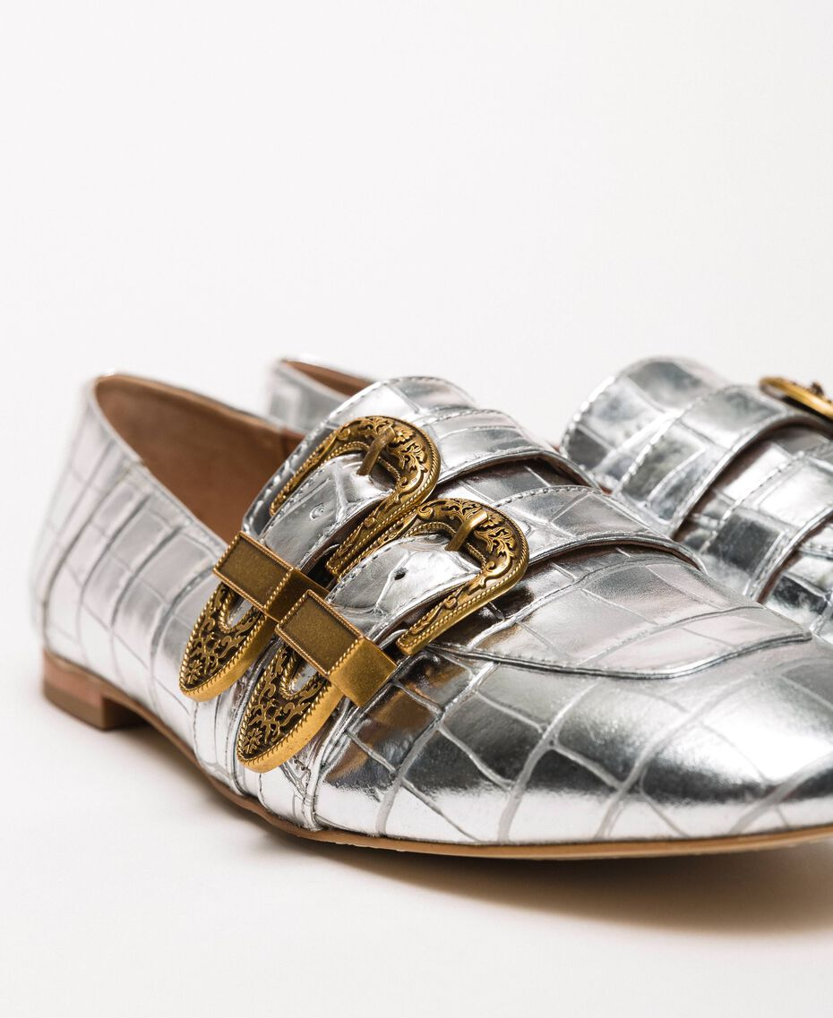 "Leather moccasins with crocodile print ""Titanium"" Grey Croc Print Woman 201TCP050-03"