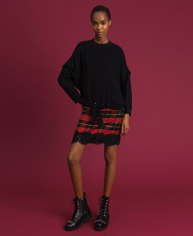 Georgette blouse with drawstring Black Woman 192TP2381-01