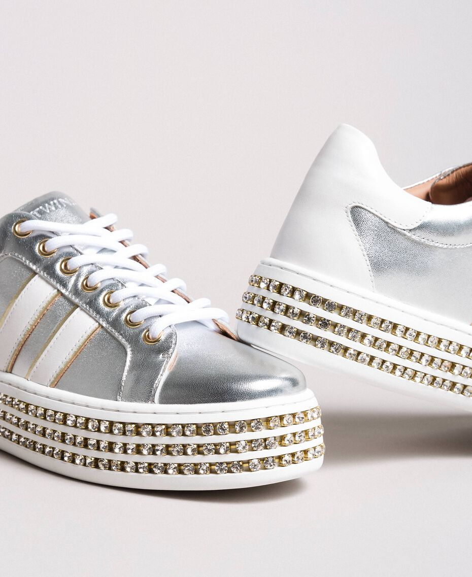 Leather sneakers with rhinestones Silver Woman 191TCP170-05