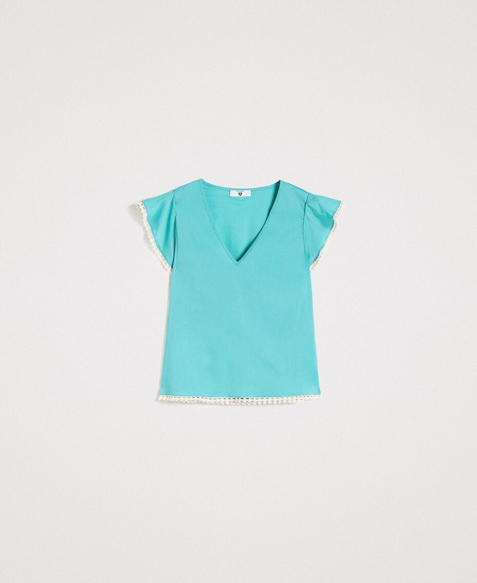 Poplin T-shirt Mousse Blue Woman 191LB2JDD-0S