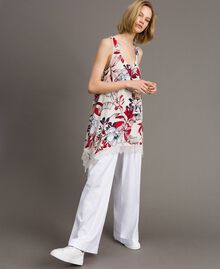 Floral print and lace crêpe top Exotic Ecru Print Woman 191ST2234-01