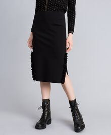 Mid-length Milan stitch skirt with ruches Black Woman PA821W-01