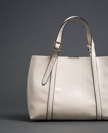 Borsa shopper in similpelle effetto vernice Bianco Neve Donna 192TO8150-04