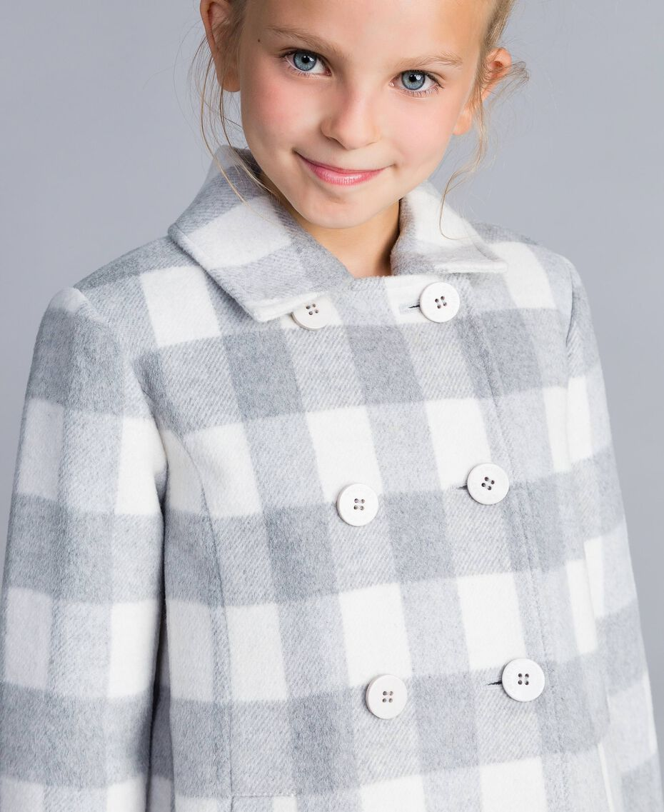 "Short check coat ""Grey Check"" / White Jacquard Child GA82CN-0S"