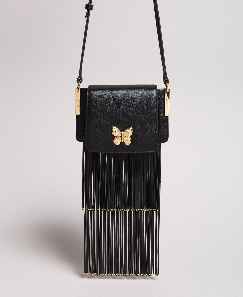 """Leather Bea shoulder bag with fringes """"Marzipan"""" Beige Woman 191TO8231-02"""