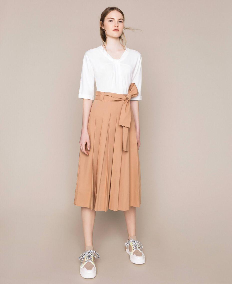 Robe mi-longue avec jupe en popeline Bicolore Blanc Optique / Marron Clair Femme 201ST2023-01