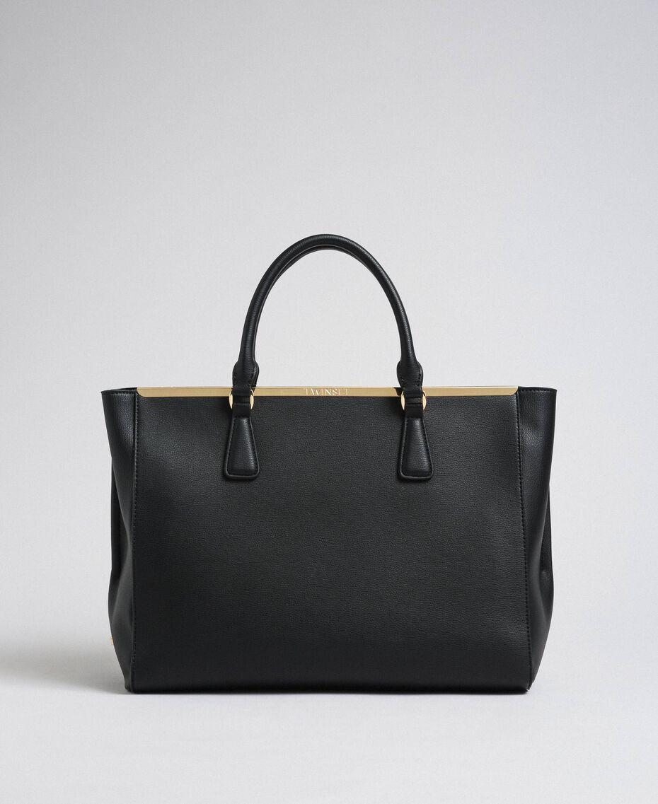 Sac cabas en similicuir avec logo Noir Femme 192TO8050-03