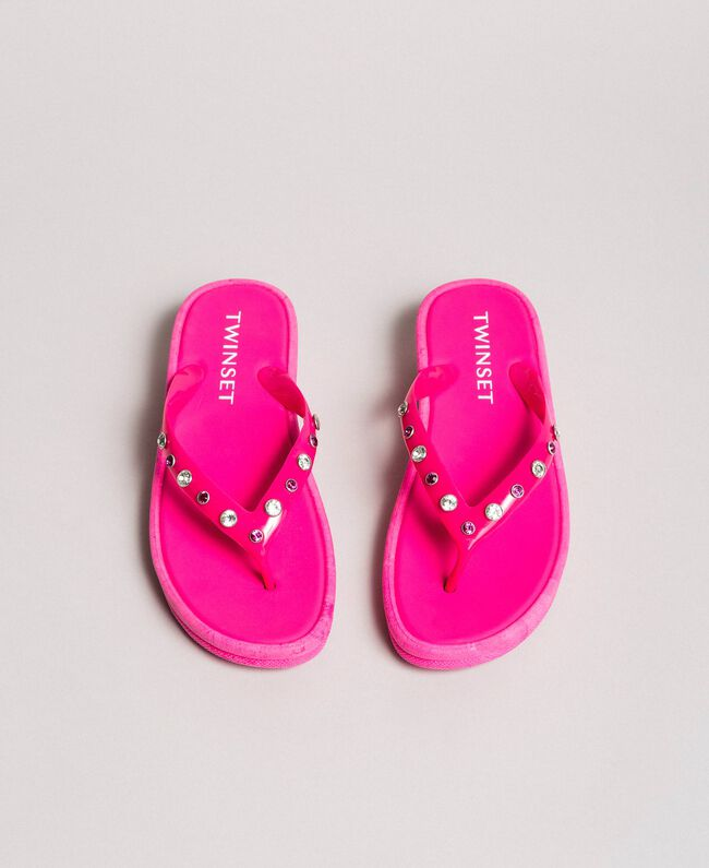 """Flip flops with wedge and rhinestones """"Psychedelic Pink"""" Fuchsia Woman 191LB4ZNN-01"""