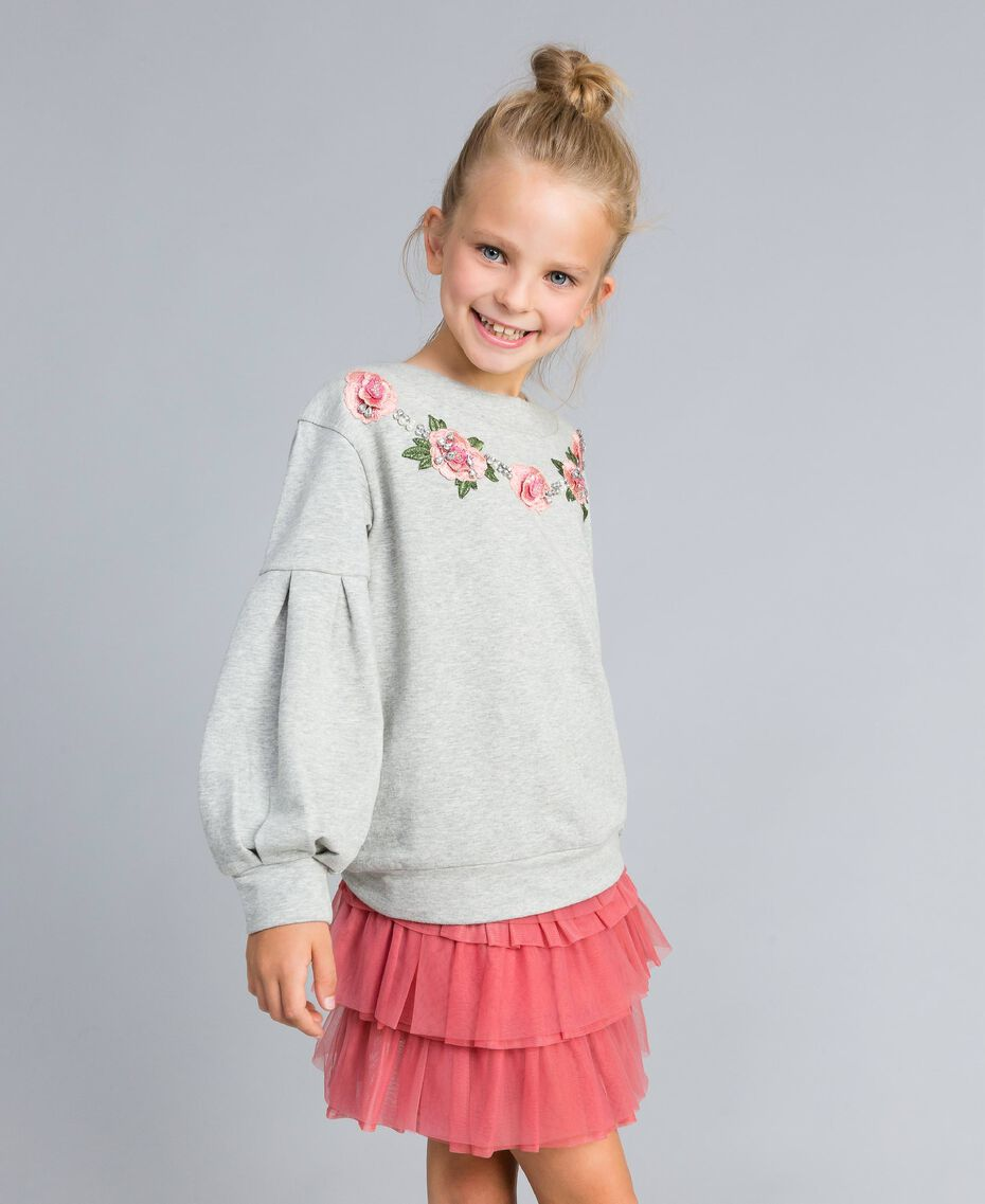 Embroidered stretch viscose sweatshirt Light Gray Mélange Child GA82SA-0S