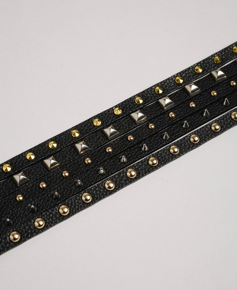 High waist leather belt with mixed studs Black Woman 192TA430E-02