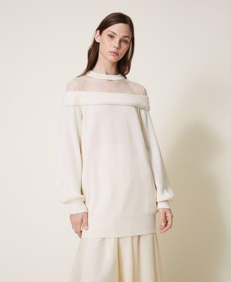 Длинная трикотажная кофта из смесовой шерсти с тюлем Бело-кремовый женщина 202MP3092-01