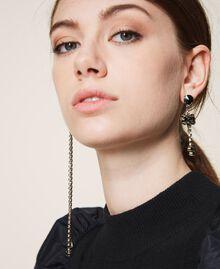 Boucles d'oreilles asymétriques avec nœuds Noir Diamant Femme 202TA4302-0T