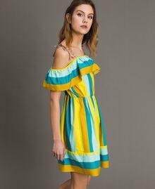 Mehrfarbig gestreiftes Popeline-Kleid Multicolour Motiv Keramikblau Frau 191TT2412-02