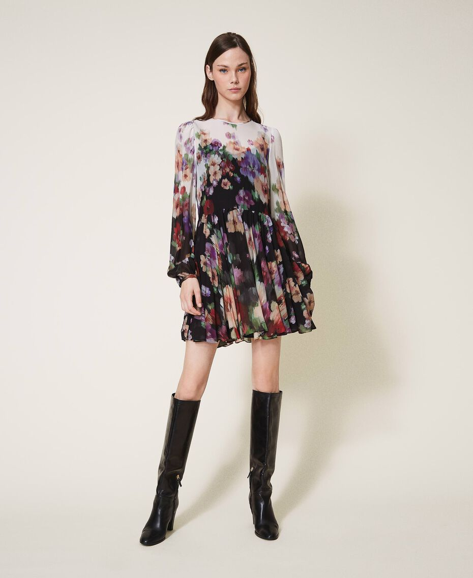 Floral georgette dress Black / Ivory Fadeout Floral Print Woman 202TT2381-01