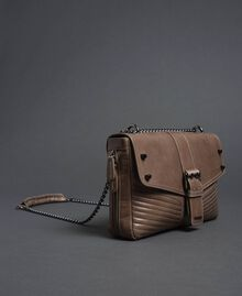 Grand sac à bandoulière Rebel en cuir Tourterelle Femme 192TA7233-01