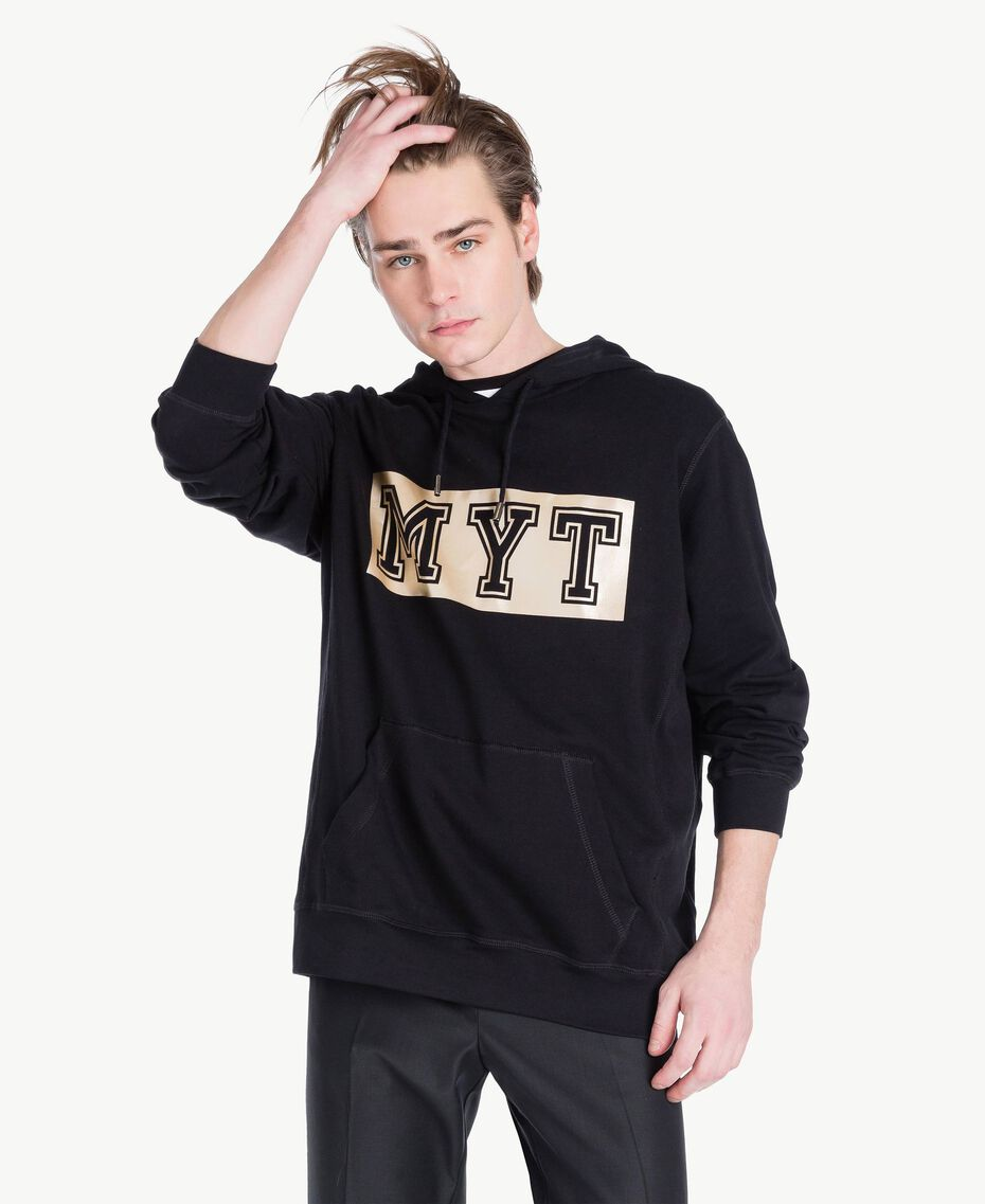 Logo sweatshirt Black Man US821R-01