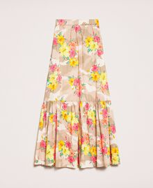Camouflage and floral print skirt Multicolour Hibiscus Print Woman 201MT2384-0S