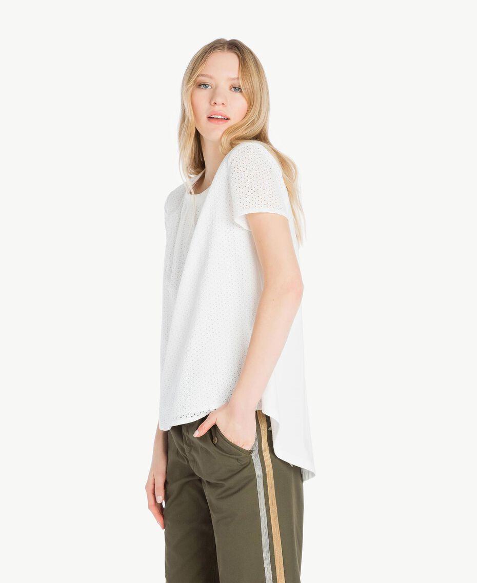 T-Shirt mit St. Galler Stickerei Weiß Frau YS82D1-02