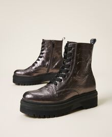 Laminated faux leather combat boots with logo Laminated Anthracite Woman 202MCP082-01