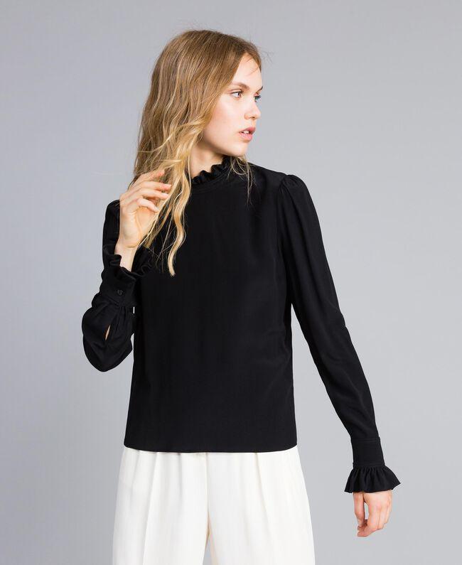 Bluse aus Seidenmischung mit Rüschen Schwarz Frau TA823D-01