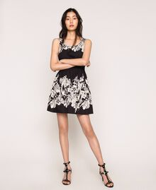 Robe en popeline florale Imprimé Fleur Graphique Noir Femme 201TT2312-0T