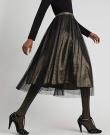 Metal effect midi skirt with tulle Black Gold Woman 192MT2190-02