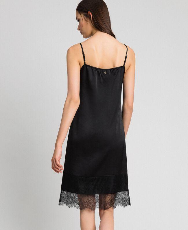 Unterkleid aus Satin mit Spitze Schwarz Frau 192MP2132-03