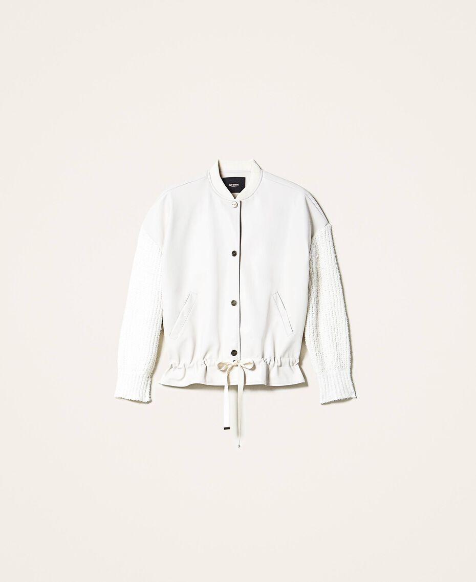 Bomber en similicuir avec manches en maille Blanc Crème Femme 202MP2520-0S