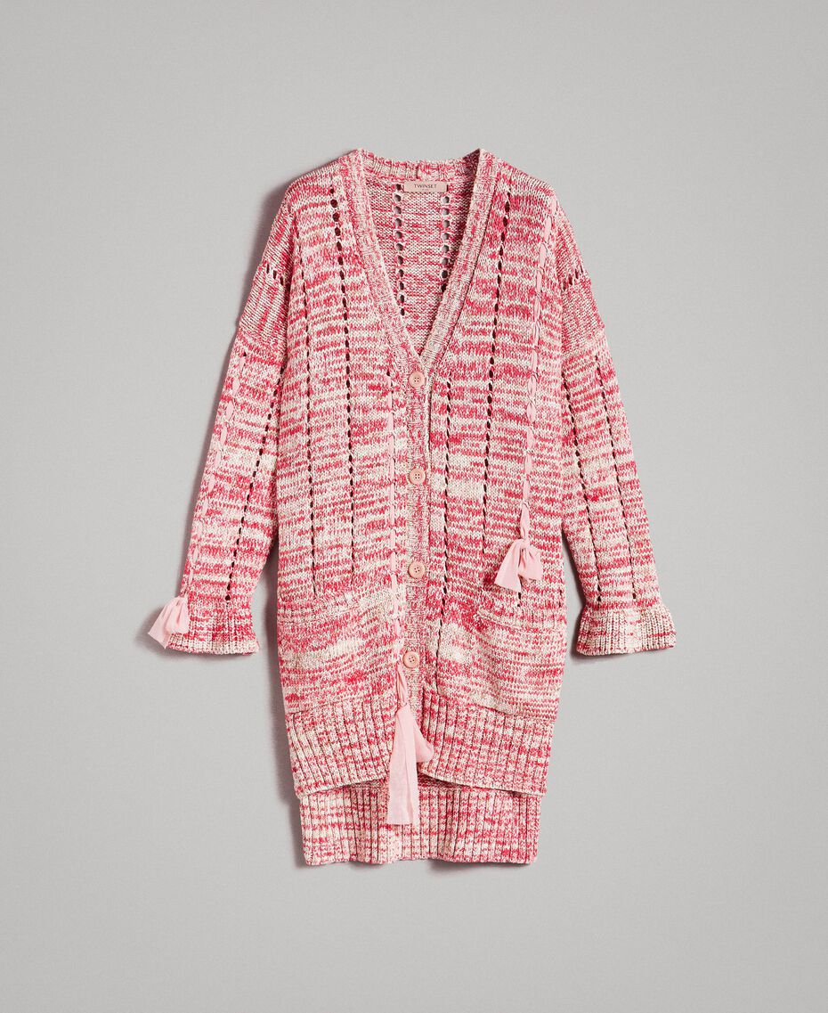 Maxi cardigan with ribbons Multicolour Pink Pattern Woman 191TP3280-0S