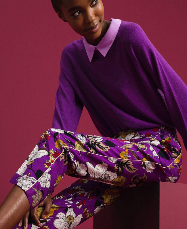 Pantalon cigarette avec imprimé floral Imprimé Fleurs d'Automne Violet Femme 192ST2224-04