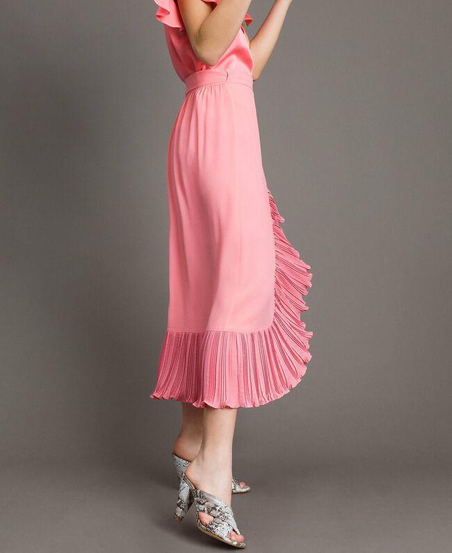 """Jupe longue plissée en soie mélangée Rose """"Églantine"""" Femme 191TP2146-01"""