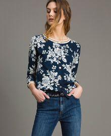 Lurex-Pullover-Cardigan mit Blumenmuster Motiv Blumen Deep Lake Frau 191ST3121-03