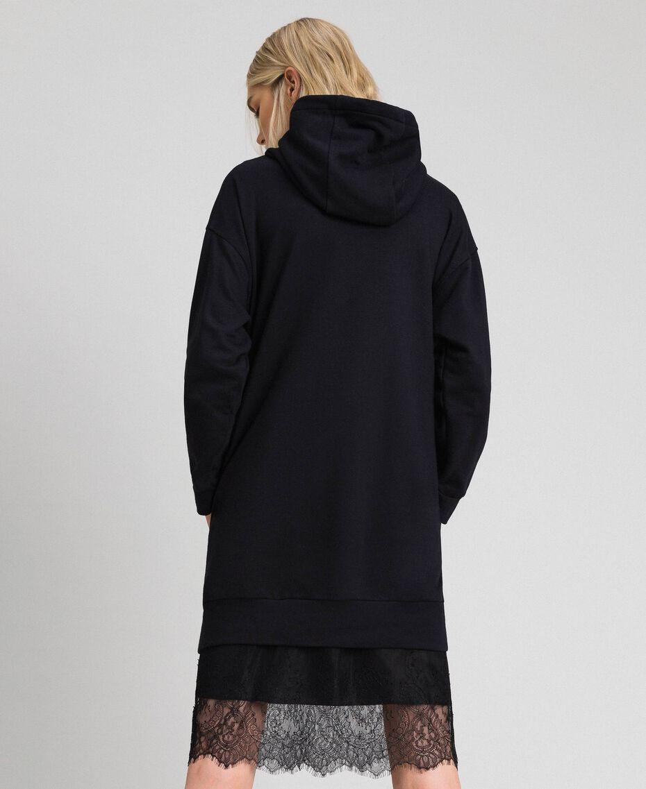 Oversize-Sweatshirt mit Print an der Vorderpartie Blütenknospenrosa Frau 192TT2130-03