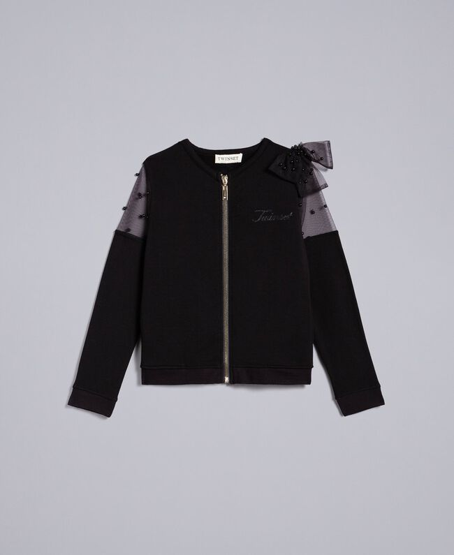 Viscose sweatshirt with embroidered tulle Black Child GA82LN-01