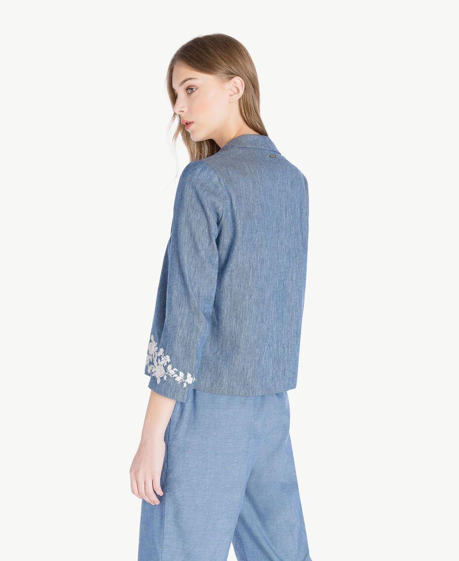 Embroidered jacket Dark Blue Denim Woman TS82BN-03