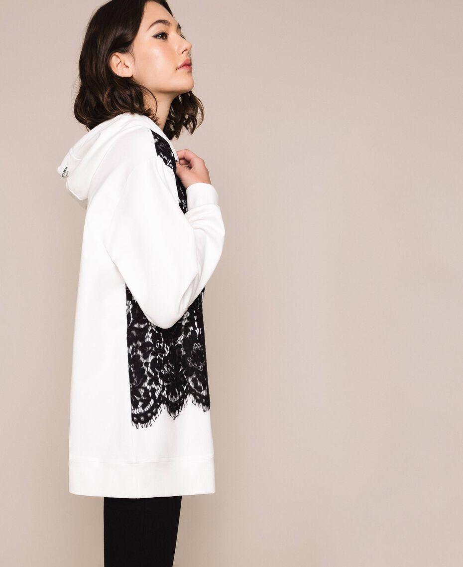 Maxi sweat-shirt avec dentelle Bicolore Lis/ Noir Femme 201MP2141-02