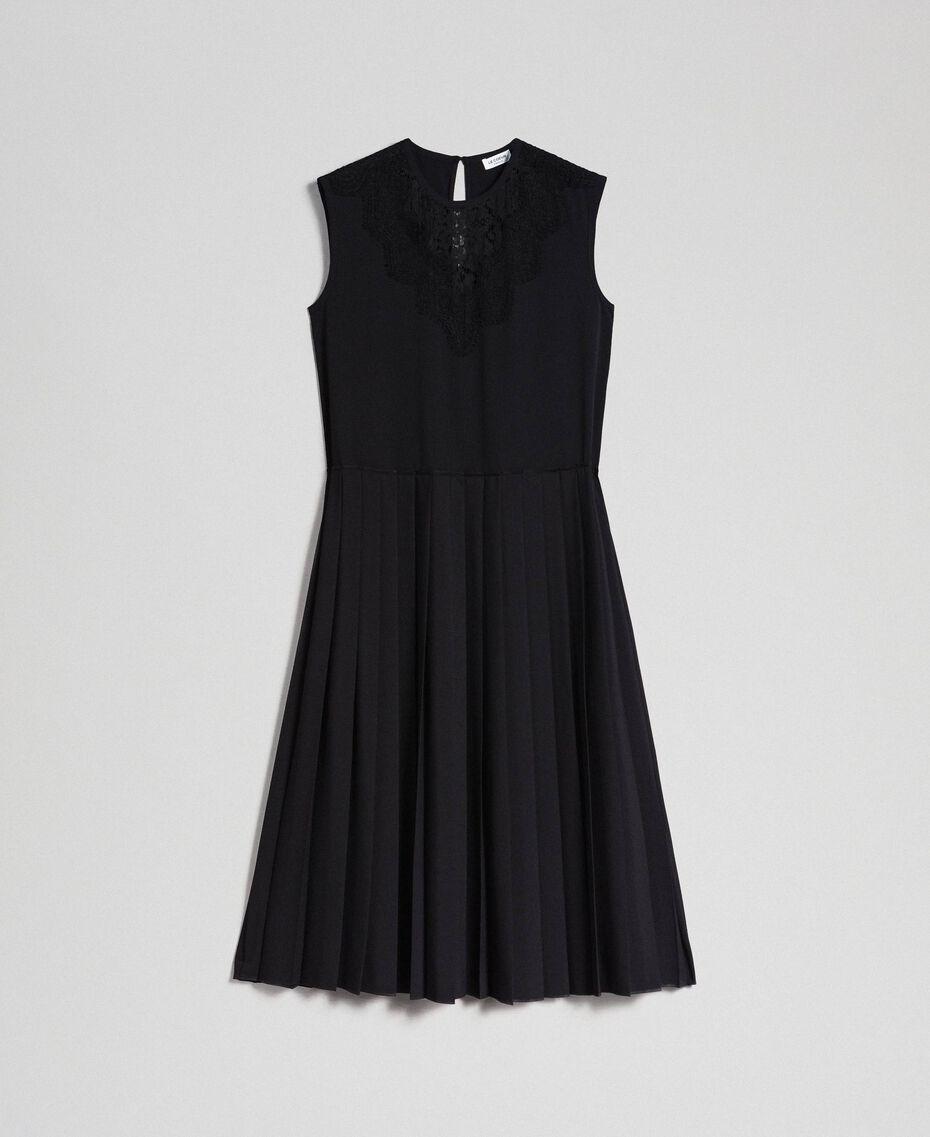 Robe en crêpe de Chine avec dentelle et plissé Noir Femme 192ST208C-0S
