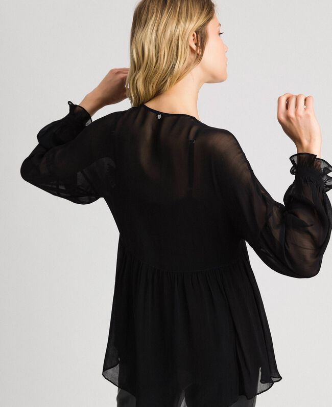 Blouse with floral rhinestone and sequin embroidery Black Woman 192TP2162-04