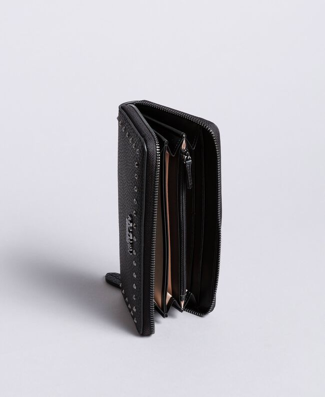 Geldbörse aus Lederimitat mit Nieten Schwarz Frau VA8PAJ-03