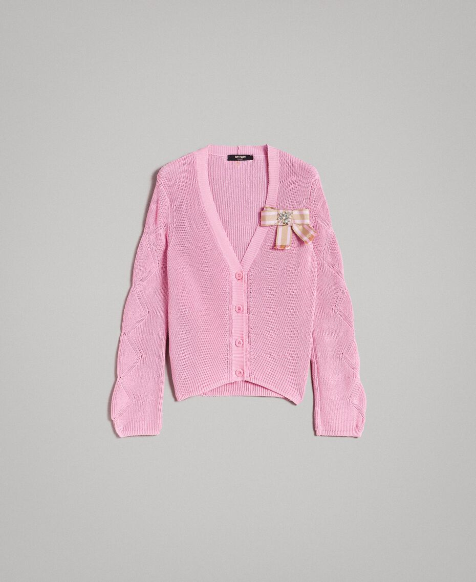 Cotton cardigan with brooch Hydrangea Pink Woman 191MP3092-0S