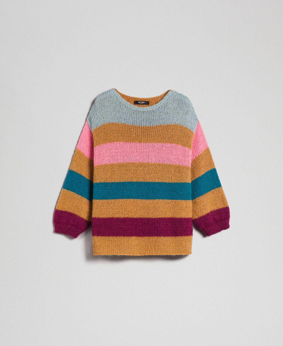 Maxi jumper with multicolour stripes Irish Cream Hazelnut Woman 192MP3221-0S