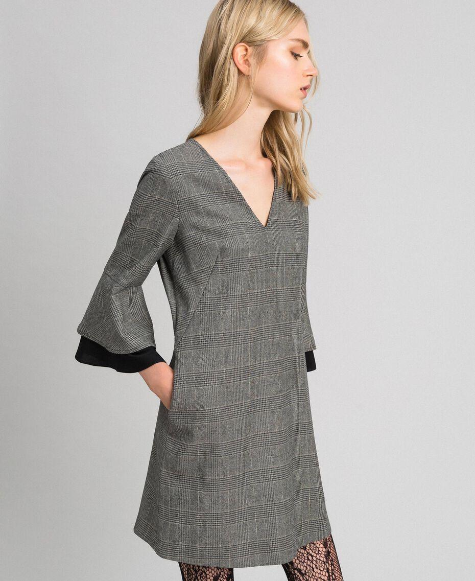 Glen plaid and georgette dress Lurex Dark Grey Wales Design Woman 192TT2447-02