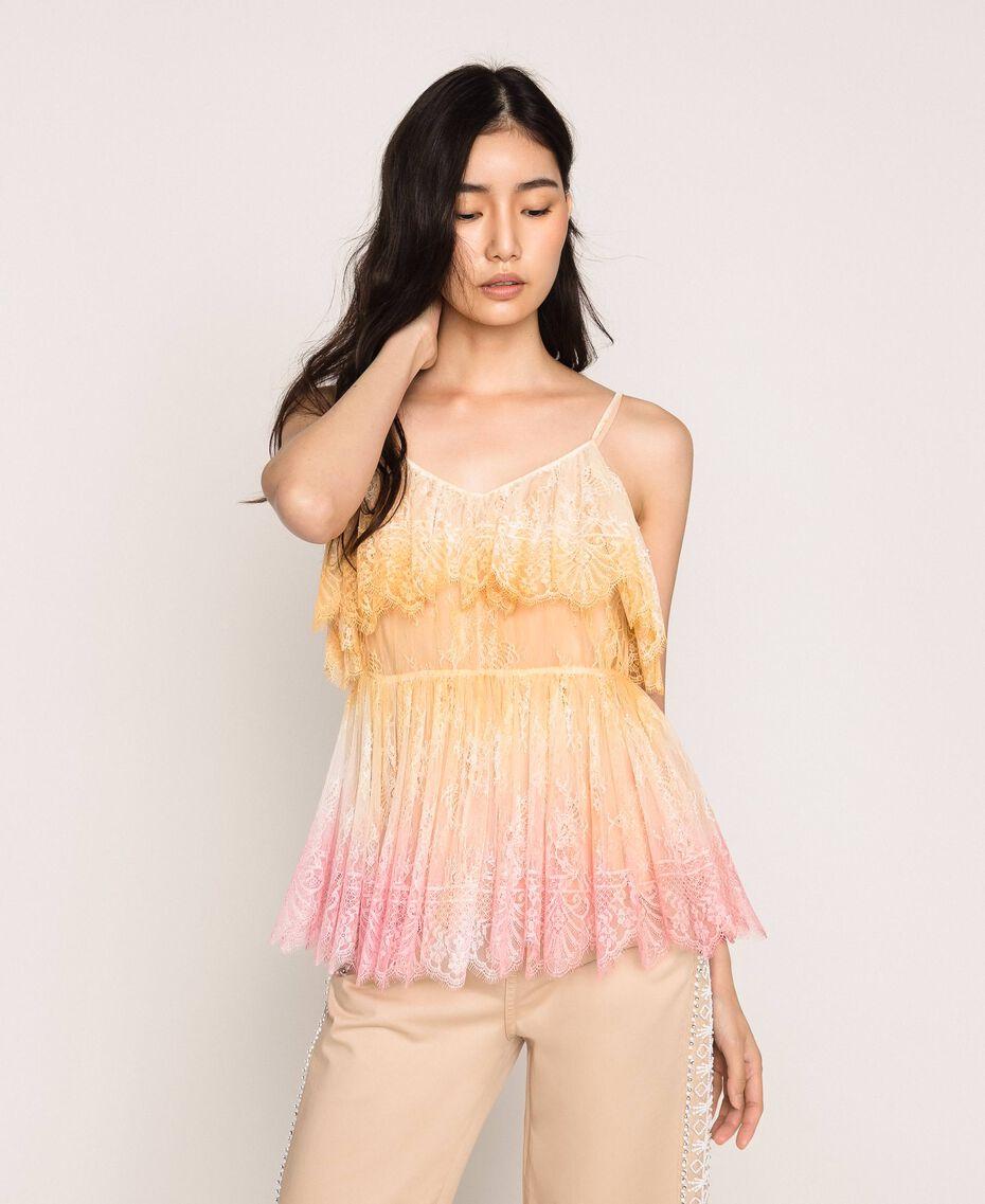 Tie-dye lace top Multicolour Tie Dye Pink Woman 201TT2280-01