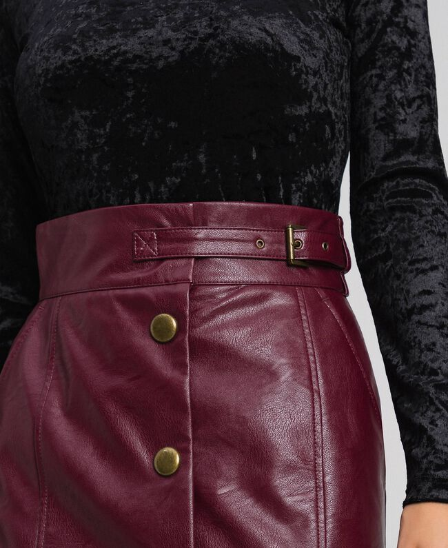 Jupe mi-longue en similicuir Rouge Velours Femme 192TT203B-04
