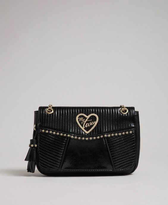 Faux leather shoulder bag with chain and studs