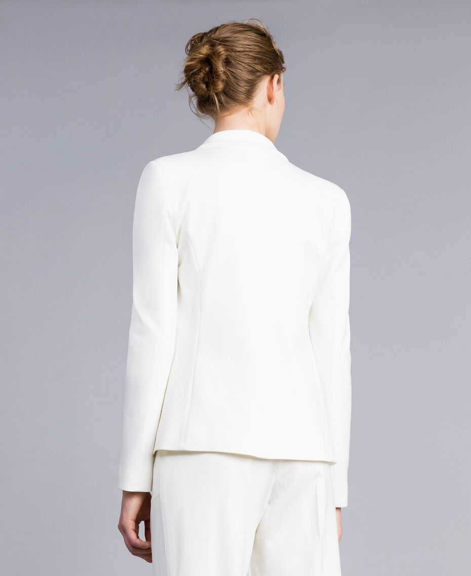 Jacke aus Interlock-Jersey mit Rüschen Weiß Schnee Frau PA821A-02