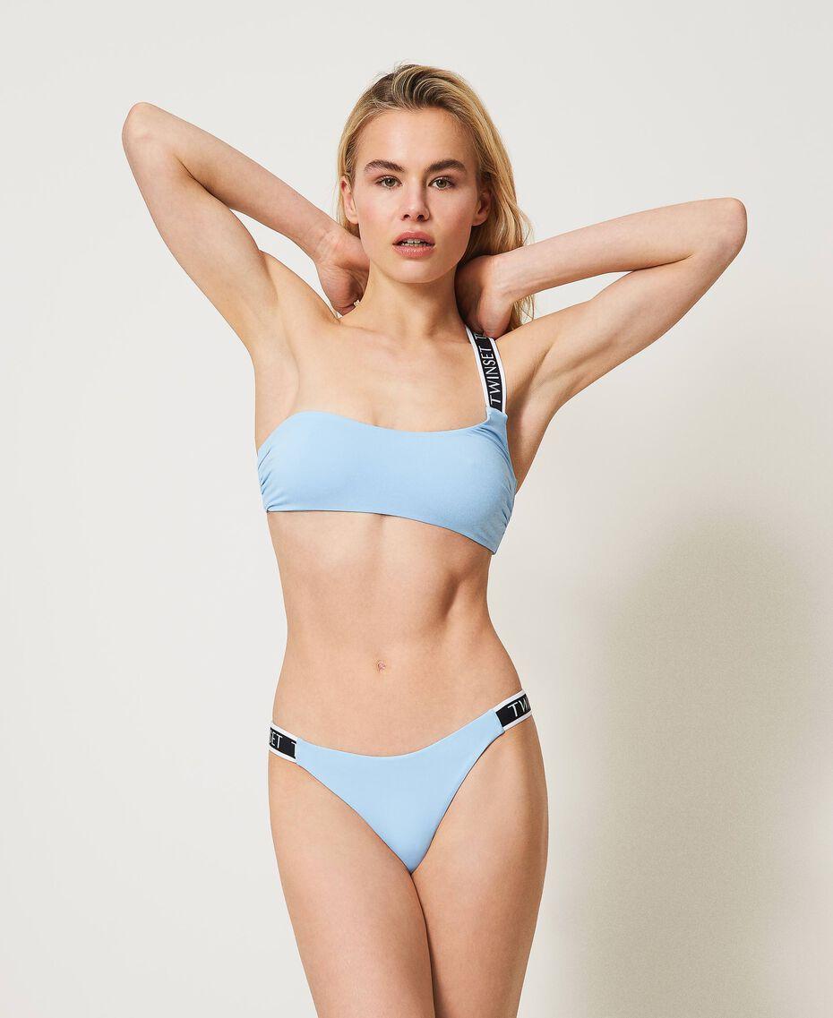 """Bikini con brassière monospalla e brasiliana Blu """"Cielo"""" Donna 211LMMPXX-02"""